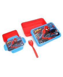 Marvel Spiderman Lunch Box With Fork Spoon - Red Blue