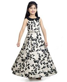 Tiny Baby All Over Floral Printed Long Gown - Black