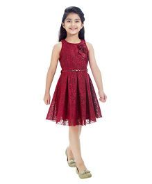 Tiny Baby Dress With Attached Belt & Flower Applique - Maroon