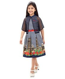Tiny Baby Stripe Printed Flare Dress With Bow Belt - Navy Blue