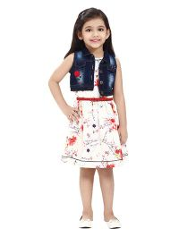 Tiny Baby Printed Dress With Attached Belt & Denim Jacket - Red