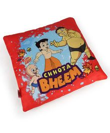 Chhota Bheem Square Shape Cushion - Red & Orange