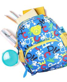 Alphabets Print School Bag Royal Blue - Height 12.5 inches