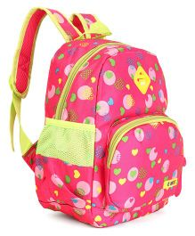 School Bag Heart Print Dark Pink - 12 inches