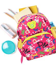 Alphabets Print Baby School Bag Pink - 12.5 inches