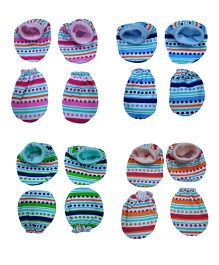 Triple B Mittens & Booties Striped & Dot Print Set of 4 Each - Multi Color