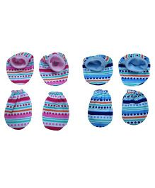 Triple B Mittens & Booties Striped & Dot Print Set of 2 - Blue & Pink