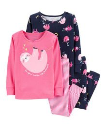 Carter's 4-Piece Glitter Sloth Snug Fit Cotton PJs - Pink