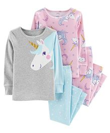 Carter's 4-Piece Glitter Unicorn Snug Fit Cotton PJs - Grey