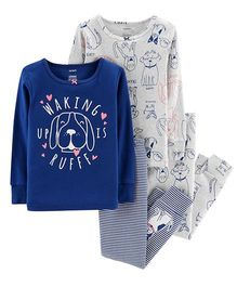 Carter's 4-Piece Glitter Dog Snug Fit Cotton PJs - Blue