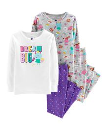 Carter's 4-Piece Glitter Dream Big Snug Fit Cotton PJs - Multicolour