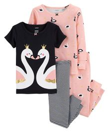 Carter's 4-Piece Swan Snug Fit Cotton PJs - Pink Black