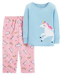 Carter's 2-Piece Unicorn Cotton & Fleece PJs - Blue Pink