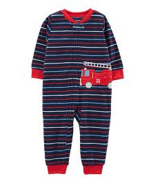 Carter's 1-Piece Firetruck Fleece Footless PJs - Navy Blue