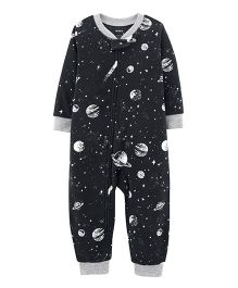 Carter's 1-Piece Space Fleece Footless PJs - Black