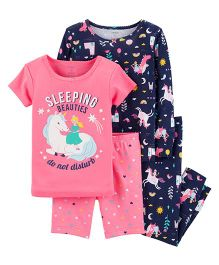 Carter's 4-Piece Snug Fit Cotton PJs - Navy Pink