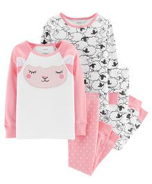 Carter's 4-Piece Sheep Snug Fit Cotton PJs - Pink White