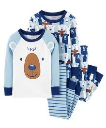 Carter's4-Piece Polar Bear Snug Fit Cotton PJs - Blue & White