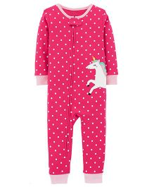 Carter's 1-Piece Unicorn Snug Fit Cotton Footless PJs - Fuchsia