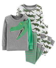 Carter's 4-Piece Alligator Snug Fit Cotton PJs - Grey Green