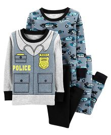 Carter's 4-Piece Police Snug Fit Cotton PJs - Blue Black