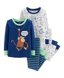 Carter's 4-Piece Monkey Snug Fit Cotton PJs - Royal Blue White