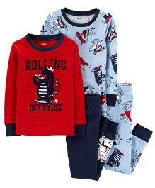 Carter's 4-Piece Monster Snug Fit Cotton PJs - Red Blue