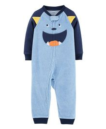 Carter's 1-Piece Monster Fleece Footless PJs - Blue
