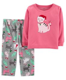 Carter's 2 Piece Christmas Cat Fleece Pajama - Pink & Grey