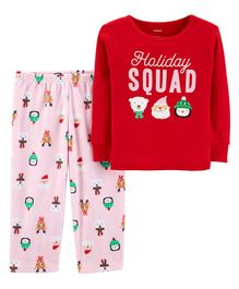 Carter's 2-Piece Christmas Cotton & Fleece Pajama - Red & Pink