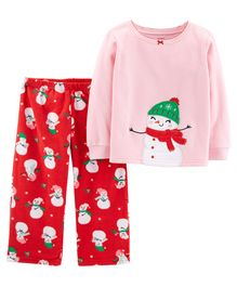 Carter's 2-Piece Christmas Snowman Fleece Pajama - Pink & Red