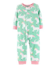 Carter's 1-Piece Unicorn Fleece Footless PJs - Mint Blue