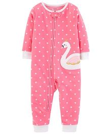 Carter's 1-Piece Swan Fleece Footless PJs - Pink