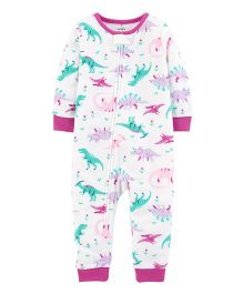 Carter's 1-Piece Dinosaur Fleece Footless PJs - White