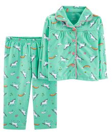 Carter's 2 Piece Unicorn Lightweight Fleece Pajama - Mint