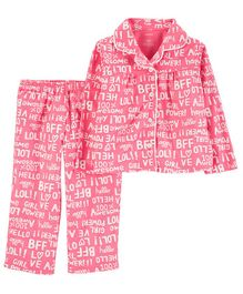 Carter's 2-Piece Girl Power Lightweight Fleece PJs - Pink