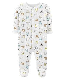 Carter's Animal Snap-Up Thermal Sleep & Play - White