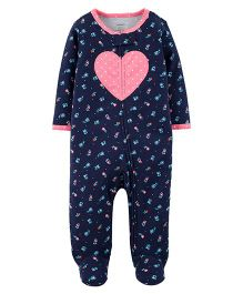 Carter's Heart Cotton Zip-Up Sleep & Play - Navy Blue