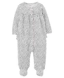 Carter's Heart Snap-Up Cotton Sleep & Play - White