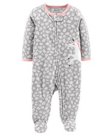 Carter's Unicorn Zip-Up Fleece Sleep & Play - Grey