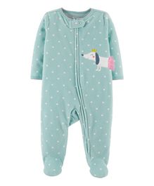 Carter's Dog Zip-Up Fleece Sleep & Play - Blue