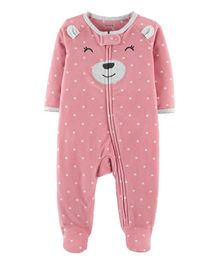 Carter's Bear Zip-Up Fleece Sleep & Play - Pink