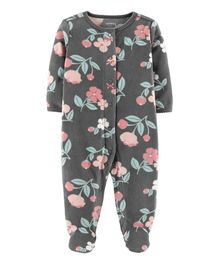 Carter's Floral Snap-Up Fleece Sleep & Play - Grey
