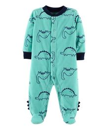 Carter's Dinosaur Snap-Up Fleece Sleep & Play - Aqua Green