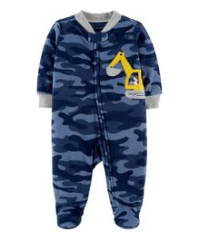 Carter's Construction Zip-Up Fleece Sleep & Play - Navy