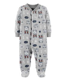 Carter's Dog Zip-Up Fleece Sleep & Play - Grey