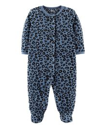 Carter's Cheetah Snap-Up Fleece Sleep & Play - Navy