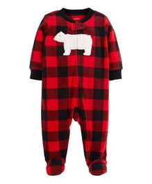 Carter's Buffalo Check Zip-Up Fleece Sleep & Play - Red & Black