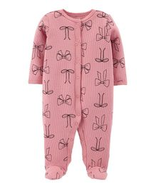 Carter's Bow Snap-Up Thermal Sleep & Play - Pink
