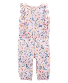 Carter's Floral Ruffle Jumpsuit - Light Pink